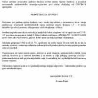 Općinski stožer Civilne zaštite - priopćenje za javnost 27. VI.